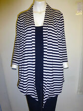 Gorgeous Navy & Beige Striped Faux Cardigan Top from BM - Size 20 - Worn Once!