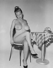 1960s Nude Pinup Virginia Bell Sitting at Cafe Table 8 x 10 Photograph