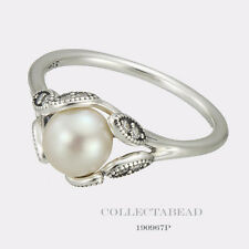 Authentic Pandora Silver Luminous Leaves Pearl & CZ Ring Size 52 (6) 190967P