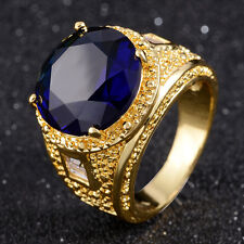 Fashion Round Cut Size 9  Halo Blue Sapphire Womens 18K Gold Filled Wedding Ring