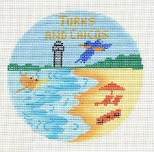 *2015~NEW* Silver Needle Turks & Caicos handpainted Needlepoint Canvas Ornament
