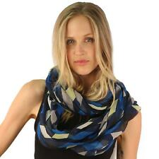 Diamond Geometic Diagram Wide Loop Circle Eternity Infinity Scarf Chain Navy