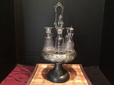 Antique Aurora Warranted Triple Plate 432 Silver plate Cruet Condiment Stand
