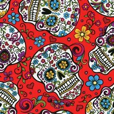 Fabric Day of the Dead Skulls & Zombies on Red Cotton 25""
