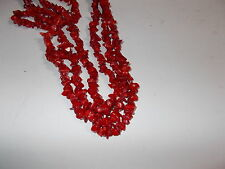 "5mm- 10mm ( 34"" Strand ) Gemstone Chip Beads - DEEP RED CORAL"