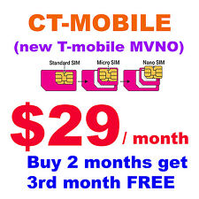 C T-Mobile prefunded sim card $29 unlimited data (1.5 GB 4G LTE)  talk and text