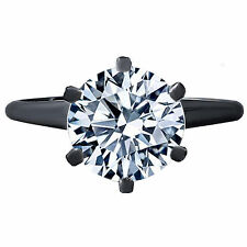 0.50CTW Round Briliant Cut Diamond Solitaire Engagment Ring Solid 14K Black Gold