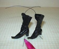 Miniature Dolls Cobbler Black Leather Witch's Boots: DOLLHOUSE Miniatures 1/12
