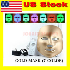 LED Facial Mask Skin Rejuvenation Golden 7 Colors Light Therapy Reduces Wrinkles