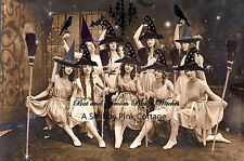 Vintage Halloween Witch Photograph Dancing Witches Brooms Antique LARGE print