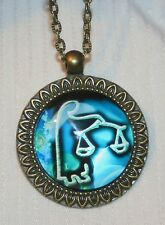 Handsome Arrow Etched Blue & White Libra Zodiac Symbol Brasstone Cameo Necklace