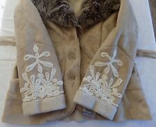 INC International Concepts Women's XL Tan Suede with Faux Fur Coat NEW NWT