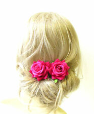 2 x Raspberry Pink Rose Flower Hair Pins Bridal Bridesmaid Clip Floral Vtg 1297
