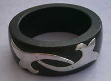 NR180) VINTAGE CELTIC RIVETED SILVER METAL BLACK WOOD WOODEN BRACELET BANGLE