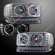 2000-2006 GMC YUKON SIERRA DUAL HALO HEADLIGHTS + LED SIGNAL BUMPER LIGHTS SET