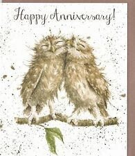 """Country Set Greeting Card Wrendale Designs Owl """"Happy Anniversary"""""""