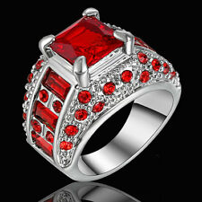 Red Garnet Gift Band Women's 10KT White Gold Filled Engagement Party Ring Size 6