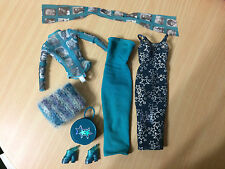 Barbie Doll Mix & Match Hollywood Nails Teal Fashion Outfit Top Dress Scarf Shoe