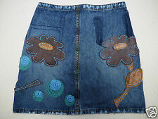 Faded Distressed Blue Denim Leather Floral Fitted Mini Skirt UK 6 8 EU 32 34 XS