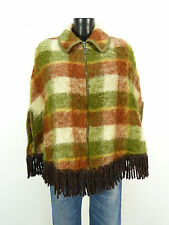 DESIGNER MOHAIR PONCHO ONE SIZE / MEHRFARBIG MIT MUSTER & 100% MOHAIR ( M 0669 )