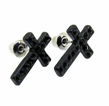 Black Iced Out Hip Hop Soft Cross Shape CZ Stud Bling Earrings