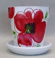 Handmade Decoupage Terra Cotta Clay Pot, Red Poppies, 5 1/4""