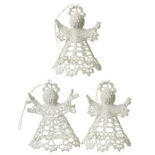 Set Of 3 Vintage White Crochet Hanging Angel Christmas Tree Decorations