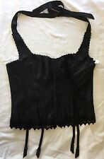 Sz 40 Fredericks Of Hollywood Black Corset Bustier w Thong G String Panties NWT