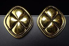 Authentic Chanel Clip-On Gold-Tone Matelasse Earrings Vintage Made in France