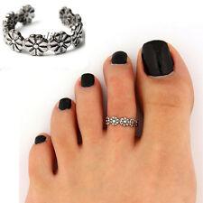 Elegant Women Ladies 925 Sterling Silver Toe Ring Foot Adjustable Beach Jewelry