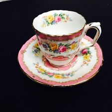 Crown Staffordshire China Demitasse Cup And Saucer Pink Floral Gorgeous
