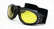 HD Yellow Anti Fog Lens Goggles Motorcycle Night Driving Lens Padded Black 43ND
