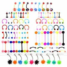 100x UV Steel Ball Eyebrow Navel Belly Tongue Nose Lip Labret Ring Piercing Lots