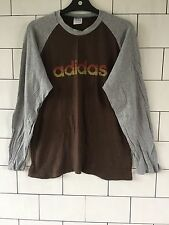 MENS VINTAGE RETRO BROWN ADIDAS THIN SWEATER LONG SLEEVE T SHIRT TOP SIZE SMALL