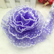 New 5 Yards 40mm Width Purple Organza Pleated Trim Lace Sewing Sequin Trim #B24