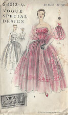 1954 Vintage VOGUE Sewing Pattern B34 EVENING/BRIDAL DRESS & STOLE (1074)