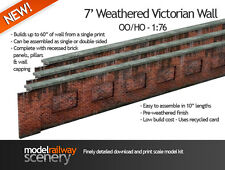 7' VICTORIAN RED BRICK LINESIDE WEATHERED WALL CARD KIT- OO SCALE FOR HORNBY