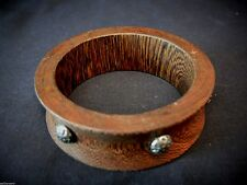 Artisan  Zebra Wood Bangle Bracelet Solid Piece with Silver Tone Studs