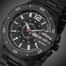INFANTRY Mens Analog Quartz Wrist Watch Date Day Luminous Black Stainless Steel
