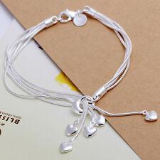 Damenarmband Schlangenkette Herze Schmuck Armband pl. mit Sterlingsilber DA067