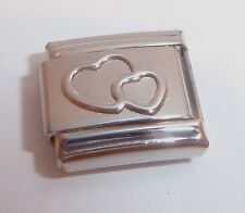 DOUBLE HEART 9mm Italian Charm fits Classic Bracelets SILVER OUTLINE Love Hearts