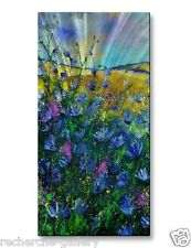 Floral Painting on Metal Art by Pol Ledent Modern Wall Sculpture Spring Fling
