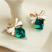 New Fashion Earrings Rhinestone Gold Bow Cubic Green Crystal For Girls Women