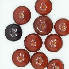 Glass Beads Topaz Transparent Disc 10mm. Pack of 10. Made in India.