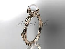 14k white rose diamond pearl vine and leaf engagement ring AP290