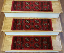 """Rug Depot 13 Traditional Carpet Stair Treads 26"""" x 9.5"""" Staircase Rugs Crimson"""