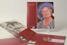 UK GB Royal Mint Queen Mother Centenary Crown 5 Pound Coin Package 2000