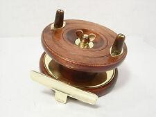 "Vintage Antique Wooden & Brass Reuben Heaton Triplelife 4"" Starback Fishing Reel"