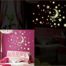 Moon Star Glow Removable Wall Sticker Mural Luminous Fluorescent Decal Paper N