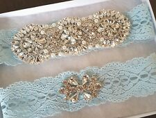 Wedding garter, Bridal Garter Set - LIGHT BLUE CRYSTAL PEARL Garter Set